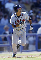 Rafael Furcal of the Atlanta Braves runs the bases during a 2002 MLB season game against the Los Angeles Dodgers at Dodger Stadium, in Los Angeles, California. (Larry Goren/Four Seam Images)