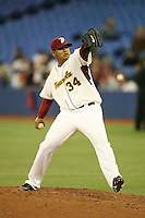 March 7, 2009:  Pitcher Felix Hernandez (34) of Venezuela during the first round of the World Baseball Classic at the Rogers Centre in Toronto, Ontario, Canada.  Venezuela defeated Italy 7-0 in both teams opening game of the tournament.  Photo by:  Mike Janes/Four Seam Images