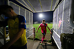 Pickering players leave the field at full time. Stocksbridge Park Steels v Pickering Town,  Evo-Stik East Division, 17th November 2018. Stocksbridge Park Steels were born from the works team of the local British Steel plant that dominates the town north of Sheffield.<br /> Having missed out on promotion via the play offs in the previous season, Stocksbridge were hovering above the relegation zone in Northern Premier League Division One East, as they lost 0-2 to Pickering Town. Stocksbridge finished the season in 13th place.