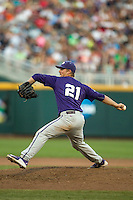 TCU Horned Frogs pitcher Brian Trieglaff (21) delivers a pitch to the plate against the Vanderbilt Commodores in Game 12 of the NCAA College World Series on June 19, 2015 at TD Ameritrade Park in Omaha, Nebraska. The Commodores defeated TCU 7-1. (Andrew Woolley/Four Seam Images)