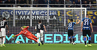 Calcio, Serie A: Inter Milano - Juventus, Giuseppe Meazza stadium, October 6 2019.<br /> Inter's Lautaro Martinez (second from right) kicks a penalty and scores during the Italian Serie A football match between Inter and Juventus at Giuseppe Meazza (San Siro) stadium, October 6, 2019.<br /> UPDATE IMAGES PRESS/Isabella Bonotto