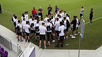 Orlando, Florida - Friday January 12, 2018: Sporting Kansas City as Director of Sports Performance and Science Mateus Manoel explains the performance tests to a group of players. The 2018 adidas MLS Player Combine Skills Testing was held Orlando City Stadium.