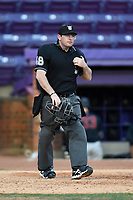 Umpire Andrew Tumlin works the plate in game two of a doubleheader between the Furman Paladins and the Harvard Crimson on Friday, March 16, 2018, at Lathan Baseball Stadium on the Furman University campus in Greenville, South Carolina. Furman won, 7-6. (Tom Priddy/Four Seam Images)
