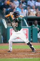 Rony Cabrera (2) of the Greensboro Grasshoppers at bat against the Greenville Drive at NewBridge Bank Park on August 17, 2015 in Greensboro, North Carolina.  The Drive defeated the Grasshoppers 5-4 in 13 innings.  (Brian Westerholt/Four Seam Images)