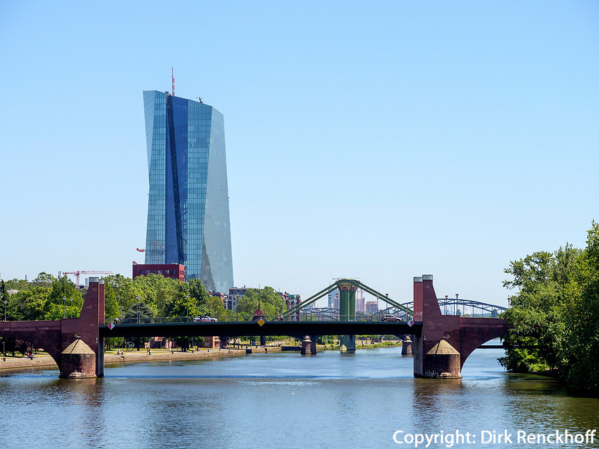 Europäische Zentralbank - EZB, Main, Frankfurt, Hessen, Deutschland, Europa<br /> European Central Bank - ECB, river Main, Frankfurt, Hesse, Germany, Europe