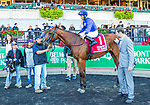 Oct 05, 2019 :  Alms with Jose Lezcano, wins the $150,000 Grade III Matron  Stakes, for two year old fillies on turf, at Belmont Park, in Elmont, NY, October 05, 2019. Sue Kawczynski_ESW_CSM,