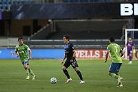 SAN JOSE, CA - OCTOBER 18: Carlos Fierro #21 of the San Jose Earthquakes during a game between Seattle Sounders FC and San Jose Earthquakes at Earthquakes Stadium on October 18, 2020 in San Jose, California.