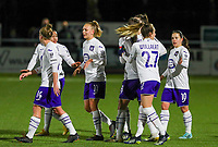 Sarah Wijnants (11) of Anderlecht pictured celebrating with teammates after scoring a goal during a female soccer game between  Racing Genk Ladies and RSC Anderlecht on the 16 th matchday of the 2020 - 2021 season of Belgian Scooore Womens Super League , friday 12 th of March 2021  in Genk , Belgium . PHOTO SPORTPIX.BE   SPP   SEVIL OKTEM