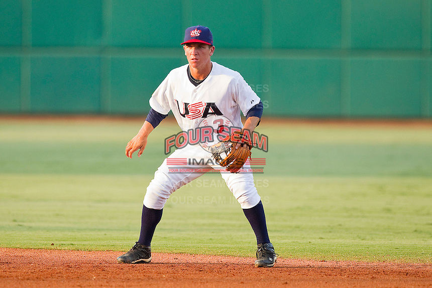Second baseman Alex Bregman #3 of the USA 18u National Team on defense against the USA Baseball Collegiate National Team at the USA Baseball National Training Center on July 2, 2011 in Cary, North Carolina.  The College National Team defeated the 18u team 8-1.  Brian Westerholt / Four Seam Images