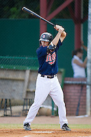 Nate Roberts #19 of the Elizabethton Twins at bat against the Kingsport Mets at Joe O'Brien Field August 14, 2010, in Elizabethton, Tennessee.  Photo by Brian Westerholt / Four Seam Images