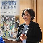 Jocelyn Mouton comments during a groundbreaking ceremony at Westbury High School, February 16, 2017.