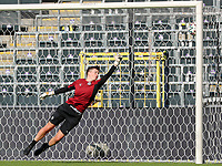 goalkeeper Hazel Engelen (1) of Anderlecht in action during the warm up before a female soccer game between RSC Anderlecht Dames and Standard Femina de Liege on the sixth matchday of the 2021 - 2022 season of Belgian Womens Super League , Saturday 9 th of October 2021  in Brussels , Belgium . PHOTO SPORTPIX | SEVIL OKTEM