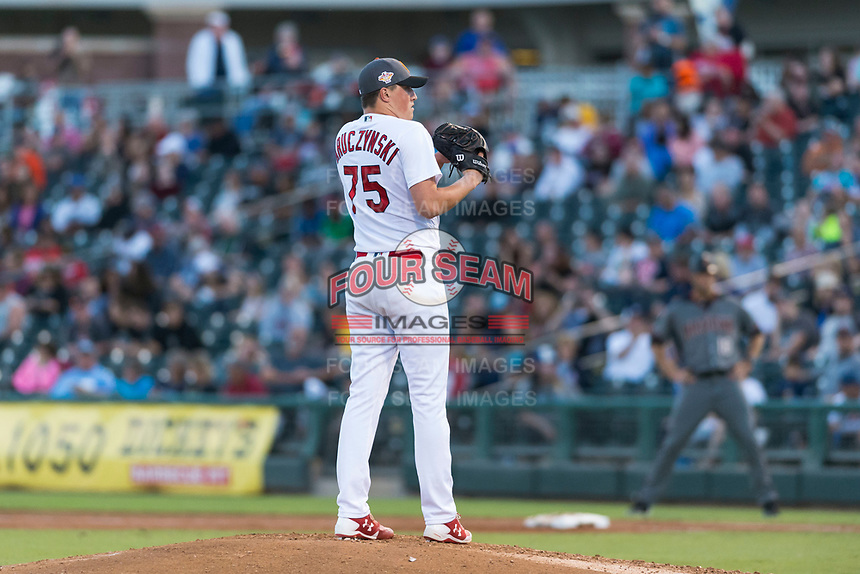 AFL West relief pitcher Evan Kruczynski (75), of the Surprise Saguaros and St. Louis Cardinals organization, looks in for the sign during the Arizona Fall League Fall Stars game at Surprise Stadium on November 3, 2018 in Surprise, Arizona. The AFL West defeated the AFL East 7-6 . (Zachary Lucy/Four Seam Images)