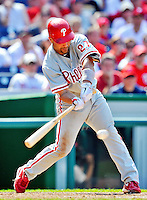 30 May 2011: Philadelphia Phillies third baseman Placido Polanco in action against the Washington Nationals at Nationals Park in Washington, District of Columbia. The Phillies defeated the Nationals 5-4 to take the first game of their 3-game series. Mandatory Credit: Ed Wolfstein Photo