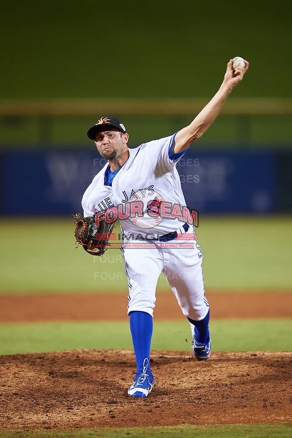Mesa Solar Sox pitcher Tim Mayza (35), of the Toronto Blue Jays organization, during a game against the Peoria Javelinas on October 15, 2016 at Sloan Park in Mesa, Arizona.  Peoria defeated Mesa 12-2.  (Mike Janes/Four Seam Images)