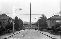 Crespi d'Adda (Bergamo), villaggio operaio di fine '800 nel settore tessile cotoniero. La ciminiera --- Crespi d'Adda (Bergamo), workers model village of the late 19th century in the cotton textile production field. The smokestack