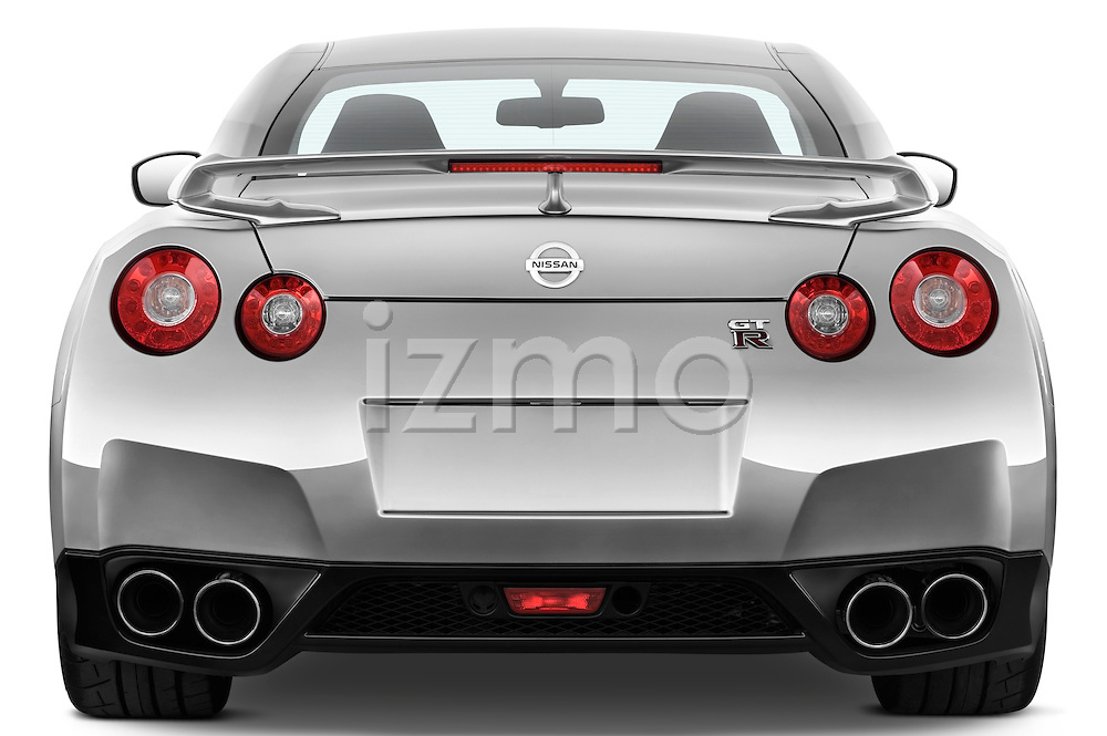 Straight rear view of a 2009 Nissan GTR Coupe
