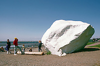 Glacial Erratic - a Big Granite Rock painted White - along Seaside Promenade Walkway and Beach at Semiahmoo Bay, White Rock, BC, British Columbia, Canada