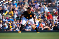Pittsburgh Pirates first baseman Edwin Espinal (79) during a Spring Training game against the Tampa Bay Rays on March 10, 2017 at LECOM Park in Bradenton, Florida.  Pittsburgh defeated New York 4-1.  (Mike Janes/Four Seam Images)