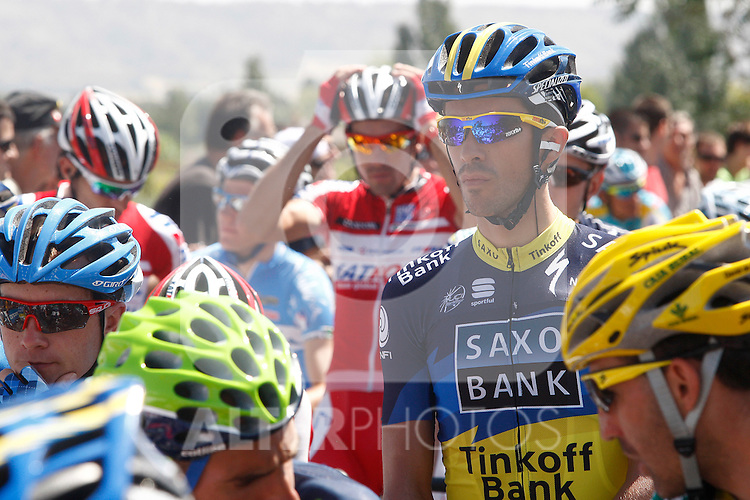 Alberto Contador (r) and Joaquin Purito Rodriguez (c) during the stage of La Vuelta 2012 between Huesca and Motorland Aragon (Alcaniz).August 24,2012. (ALTERPHOTOS/Paola Otero)