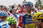 Alberto Contador (r) and Joaquin Purito Rodriguez (c) during the stage of La Vuelta 2012 between Huesca and Motorland Aragon (Alcaniz).August 24,2012. (ALTERPHOTOS/Paola Otero)