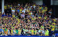 25th September 2021; Goodison Park, Liverpool, England; Premier League football, Everton versus Norwich; Norwich City fans look on from the lower Bullens Road stand