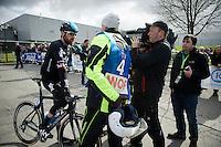 Sir Bradley Wiggins (GBR/Sky) interviewed at the start by Sporza reporter Renaat Schotte<br /> <br /> 3 Days of De Panne 2015