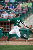 Fort Wayne TinCaps designated hitter Tirso Ornelas (28) follows through on a swing during a game against the West Michigan Whitecaps on May 17, 2018 at Parkview Field in Fort Wayne, Indiana.  Fort Wayne defeated West Michigan 7-3.  (Mike Janes/Four Seam Images)