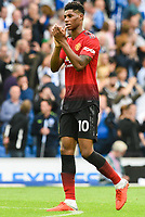 Marcus Rashford of Manchester United (10) after the Premier League match between Brighton and Hove Albion and Manchester United at the American Express Community Stadium, Brighton and Hove, England on 19 August 2018. Photo by Edward Thomas / PRiME Media Images.