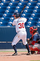 Phil Gosselin #30 of the Rome Braves at bat against the Greenville Drive at State Mutual Stadium July 25, 2010, in Rome, Georgia.  Photo by Brian Westerholt / Four Seam Images