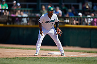 Beloit Snappers first baseman Miguel Mercedes (7) during a game against the Bowling Green Hot Rods on May 7, 2017 at Pohlman Field in Beloit, Wisconsin.  Bowling Green defeated Beloit 6-2.  (Mike Janes/Four Seam Images)