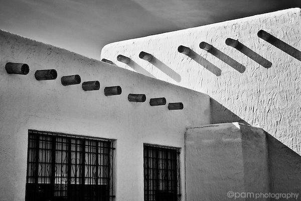 Black and white image of a New Mexico adobe structure