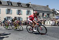 early breakaway group - Anthony Turgis (FRA/Cofidis) cornering. <br /> <br /> Stage 6: Brest > Mûr de Bretagne / Guerlédan (181km)<br /> <br /> 105th Tour de France 2018<br /> ©kramon