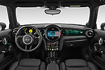 Stock photo of straight dashboard view of 2021 MINI Mini-Electric Cooper-SE-Edition-mosaert 3 Door Hatchback Dashboard