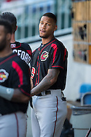 Byron Buxton (53) of the Rochester Red Wings gets ready for the game against the Charlotte Knights at BB&T BallPark on August 8, 2015 in Charlotte, North Carolina.  The Red Wings defeated the Knights 3-0.  (Brian Westerholt/Four Seam Images)
