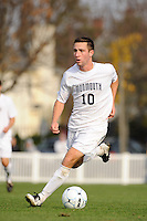 Ryan Kinne (10) of the Monmouth Hawks. Dartmouth defeated Monmouth 4-0 during the first round of the 2010 NCAA Division 1 Men's Soccer Championship on the Great Lawn of Monmouth University in West Long Branch, NJ, on November 18, 2010.
