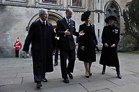 Pictured: Sophie, Countess of Wessex (right centre) and Prince Edward (left centre), Earl of Wessex leave Llandaff Cathedral, Cardiff, Wales, UK.  Sunday 11 November 2018<br /> Re: Commemoration for the 100 years since the end of the First World War on Remembrance Day at the Llandaff Cathedral, in Llandaff, Cardiff, Wales, UK.