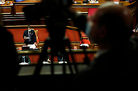 Cameras filming the Italian premier Giuseppe Conte wearing a face mask, during his speech to inform the Senate about the last Covid-19 decree.<br /> Rome (Italy), October 21st 2020<br /> Photo Samantha Zucchi Insidefoto