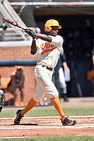 Tennessee Volunteers left fielder Vincent Jackson (40) swings at a pitch during a game against the Vanderbilt Commodores at Lindsey Nelson Stadium on April 24, 2016 in Knoxville, Tennessee. The Volunteers defeated the Commodores 5-3. (Tony Farlow/Four Seam Images)