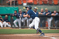 Helena Brewers infielder Brice Turang (18) starts down the first base line during a Pioneer League game against the Grand Junction Rockies at Kindrick Legion Field on August 19, 2018 in Helena, Montana. The Grand Junction Rockies defeated the Helena Brewers by a score of 6-1. (Zachary Lucy/Four Seam Images)