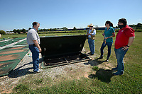 Al Drinkwater (from left), a volunteer environmental quality consultant, helps answer questions Friday, Aug. 21, 2020, for Heath Ward, executive director of Springdale Water Utilities; Kim Patulak, human resources director for the city; and Chris Clark, financial analyst for Springdale Water Utilities, as the four inspect the former Bethel Heights wastewater treatment facility. The Benton County Election Commission certified that the results of an Aug. 11 election to annex Bethel Heights into Springdale. Visit nwaonline.com/200823Daily/ for today's photo gallery.<br /> (NWA Democrat-Gazette/Andy Shupe)