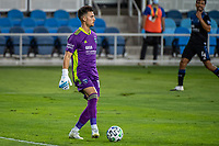 SAN JOSE, CA - OCTOBER 18: JT Marcinkowski #18 of the San Jose Earthquakes prepares to kick during a game between Seattle Sounders FC and San Jose Earthquakes at Earthquakes Stadium on October 18, 2020 in San Jose, California.