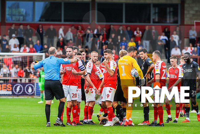 Fleetwood Town's defender Craig Morgan (20) leads the protests during the Sky Bet League 1 match between Fleetwood Town and Bradford City at Highbury Stadium, Fleetwood, England on 1 September 2018. Photo by Stephen Buckley / PRiME Media Images.