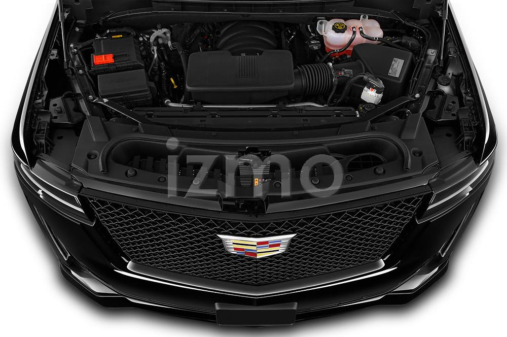 High angle engine detail of a 2021 Cadillac Escalade ESV Sport 5 Door SUV
