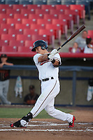 Jose Cardona (8) of the High Desert Mavericks bats against the Modesto Nuts at Heritage Field on June 3, 2016 in Adelanto, California. Modesto defeated High Desert, 2-1. (Larry Goren/Four Seam Images)