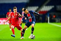 13th April 2021; Parc de Princes, Paris, France; UEFA Champions League football, quarter-final; Paris Saint Germain versus Bayern Munich;  Kylian Mbappe (PSG) cuts back against Joshua Kimmich (Bayern)
