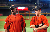 May. 16, 2008; Phoenix, AZ, USA; Arizona Diamondbacks outfielder Justin Upton (left) and infielder Jeff Salazar prior to the game against the Colorado Rockies at Chase Field. Mandatory Credit: Mark J. Rebilas-