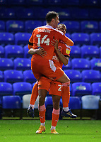 Blackpool's Gary Madine, left, celebrates scoring his side's second goal with team-mate CJ Hamilton<br /> <br /> Photographer Chris Vaughan/CameraSport<br /> <br /> The EFL Sky Bet League One - Peterborough United v Blackpool - Saturday 21st November 2020 - London Road Stadium - Peterborough<br /> <br /> World Copyright © 2020 CameraSport. All rights reserved. 43 Linden Ave. Countesthorpe. Leicester. England. LE8 5PG - Tel: +44 (0) 116 277 4147 - admin@camerasport.com - www.camerasport.com