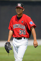 Yoon-Hee Nam #35 of the Hickory Crawdads at L.P. Frans Stadium August 9, 2009 in Hickory, North Carolina. (Photo by Brian Westerholt / Four Seam Images)