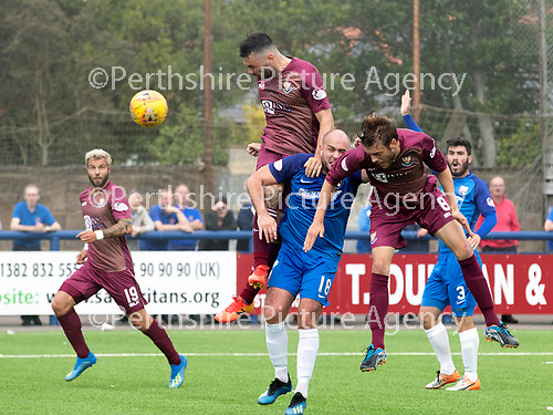 Montrose v St Johnstone…21.07.18…  Links Park    League Cup<br />Tony Watt heads in for saints to make it 1-0<br />Picture by Graeme Hart. <br />Copyright Perthshire Picture Agency<br />Tel: 01738 623350  Mobile: 07990 594431